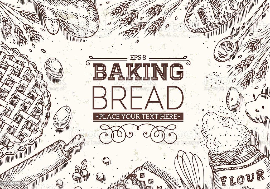 Baking Bread Frame vector art illustration