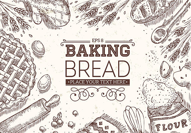 Baking Bread Frame EPS 8 bread backgrounds stock illustrations