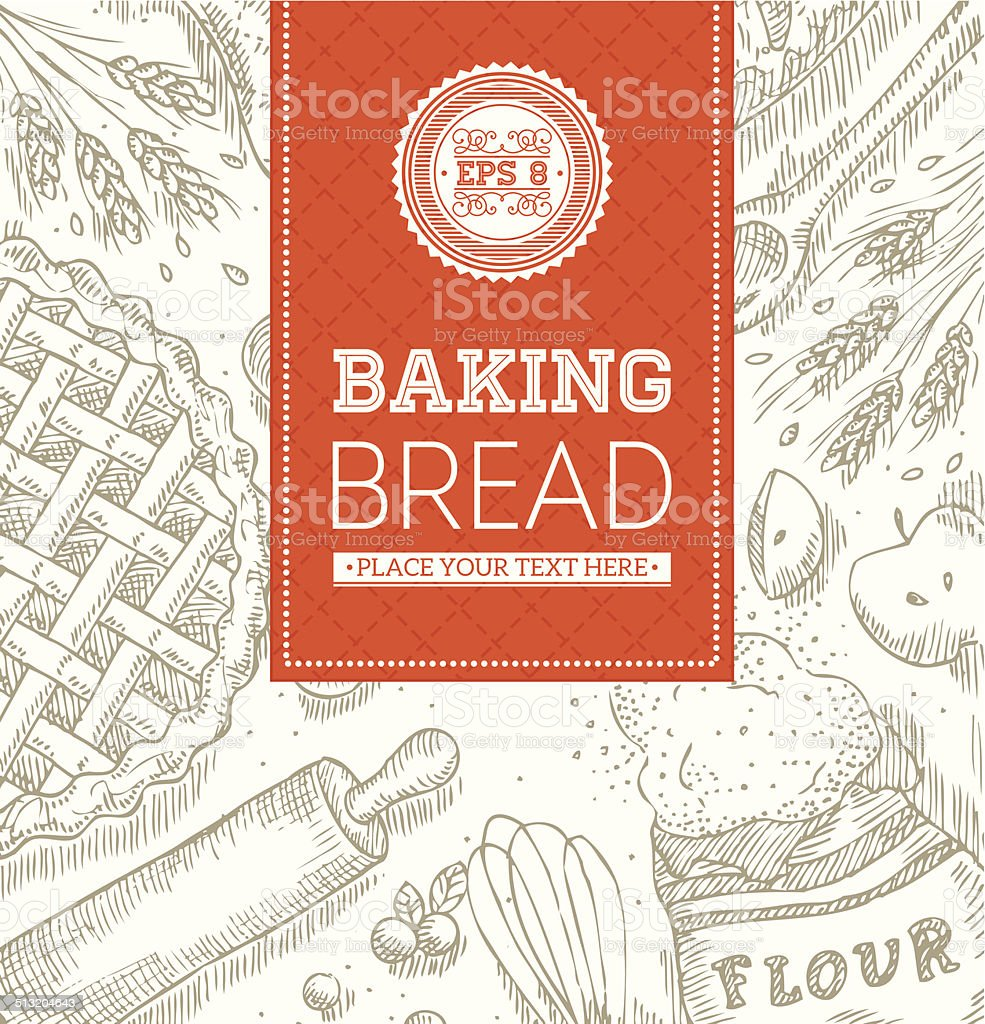 Baking Bread Template vector art illustration