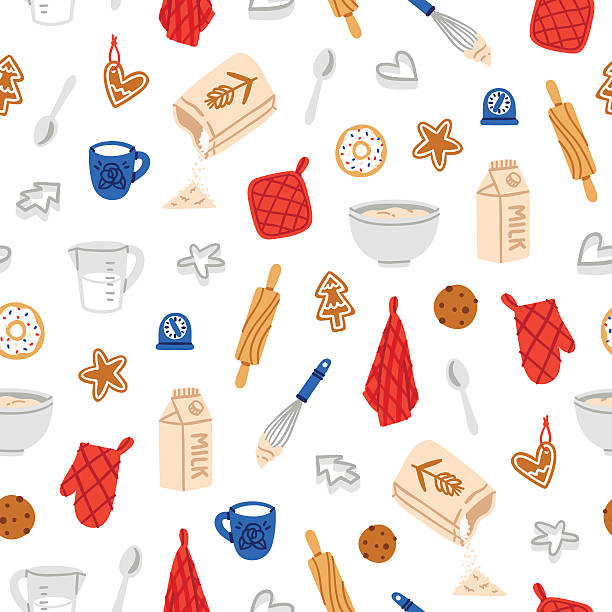 Baking cookies pattern Baking cookies beautiful and fun seamless pattern cookie cutter stock illustrations