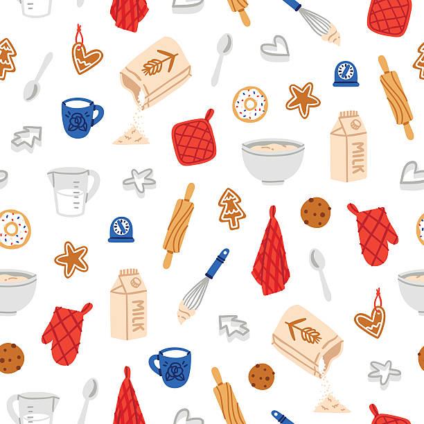 illustrazioni stock, clip art, cartoni animati e icone di tendenza di cuocere i biscotti con motivo - christmas cooking