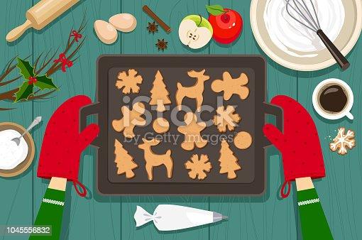 Baking cookies for Christmas. High angle view.