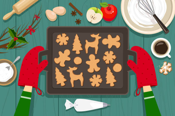 illustrazioni stock, clip art, cartoni animati e icone di tendenza di biscotti da forno - christmas cooking