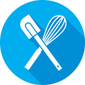 Vector illustration of a blue spatula and whisk icon in flat style.