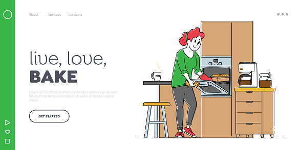 Baking Culinary Experience, Housekeeping Landing Page Template. Woman at Household. Female Character Cooking Bakes