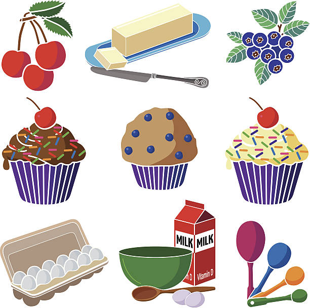 baking cupcakes and muffins icons set vector art illustration