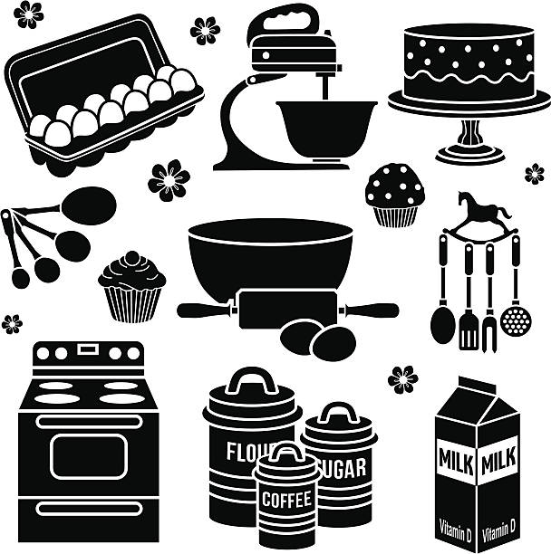 baking design elements - mixing bowl stock illustrations, clip art, cartoons, & icons