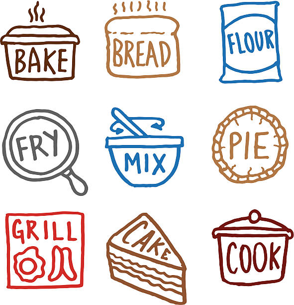 baking doodle icon set - mixing bowl stock illustrations, clip art, cartoons, & icons