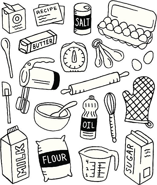 baking doodles - mixing bowl stock illustrations, clip art, cartoons, & icons