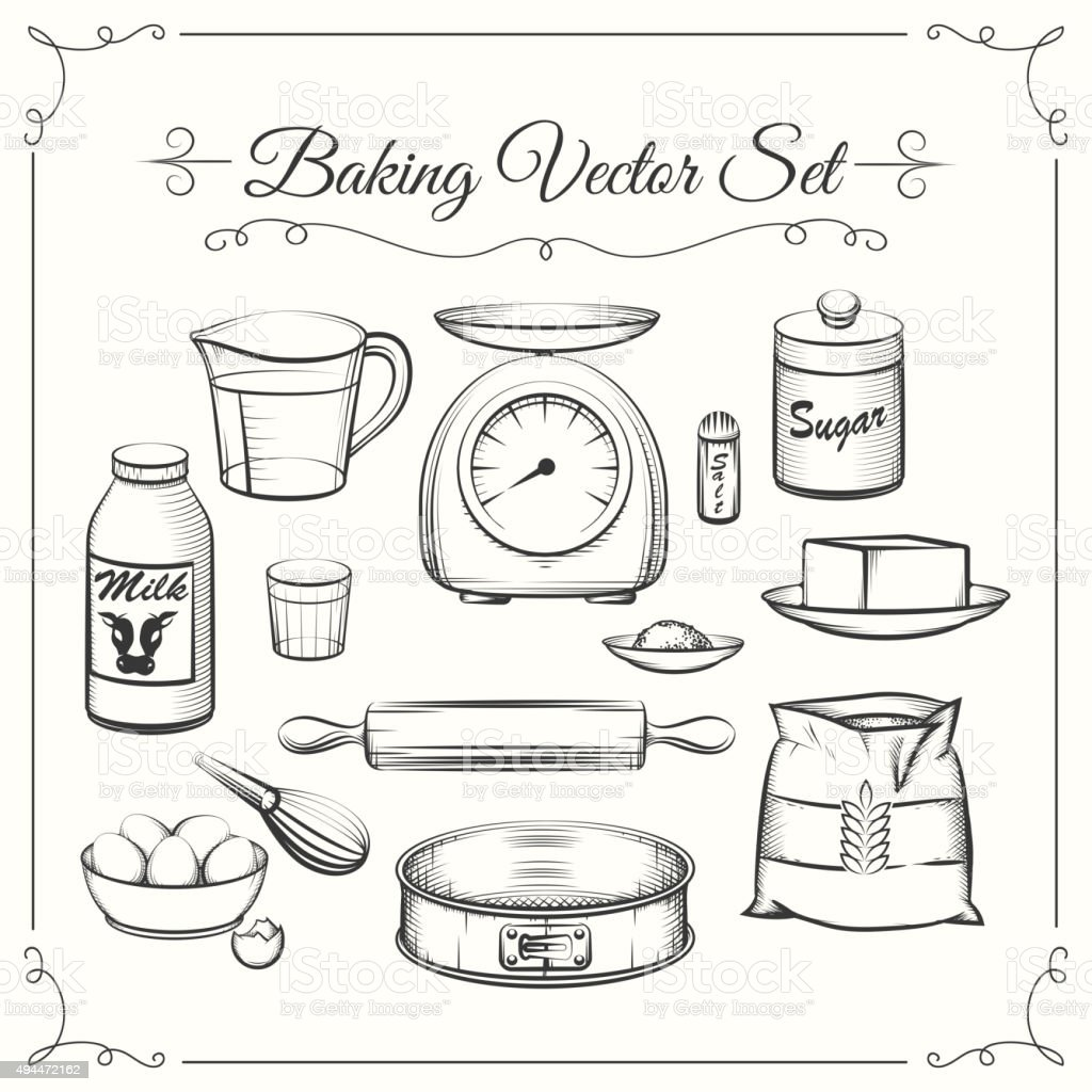 Baking food ingredients and kitchen tools in hand drawn for Cocina para cocinar