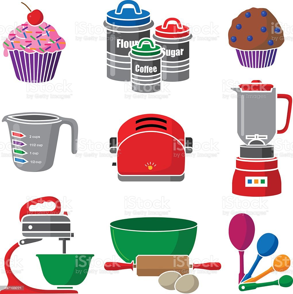 baking icons and kitchen equipment vector art illustration