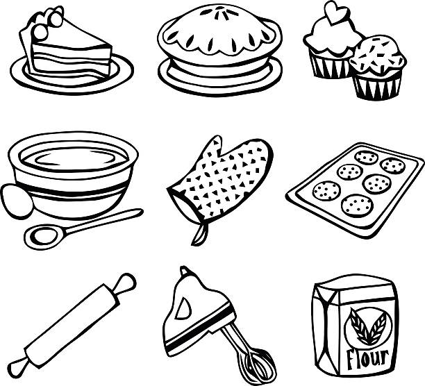 baking icons doodle line art - mixing bowl stock illustrations, clip art, cartoons, & icons