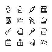 Baking icons - line - black series