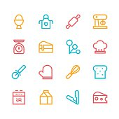 Baking icons - line - color series  Vector EPS File.