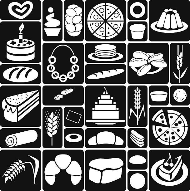 backen-icons auf schwarz - brotzopf stock-grafiken, -clipart, -cartoons und -symbole