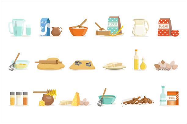 backen zutaten und küchenwerkzeuge und utensilien set von realistischen cartoon vektor illustrationen mit kochen verwandte objekte - mehl stock-grafiken, -clipart, -cartoons und -symbole