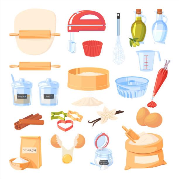베이킹 재료와 주방 용품 아이콘. 벡터 플랫 만화 일러스트레이션입니다. 요리 및 레시피 디자인 요소 - baking stock illustrations
