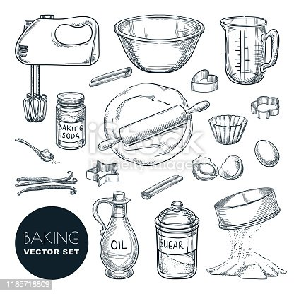 Baking ingredients and kitchen utensil icons. Vector hand drawn sketch illustration. Cooking and recipe design elements set, isolated on white background.