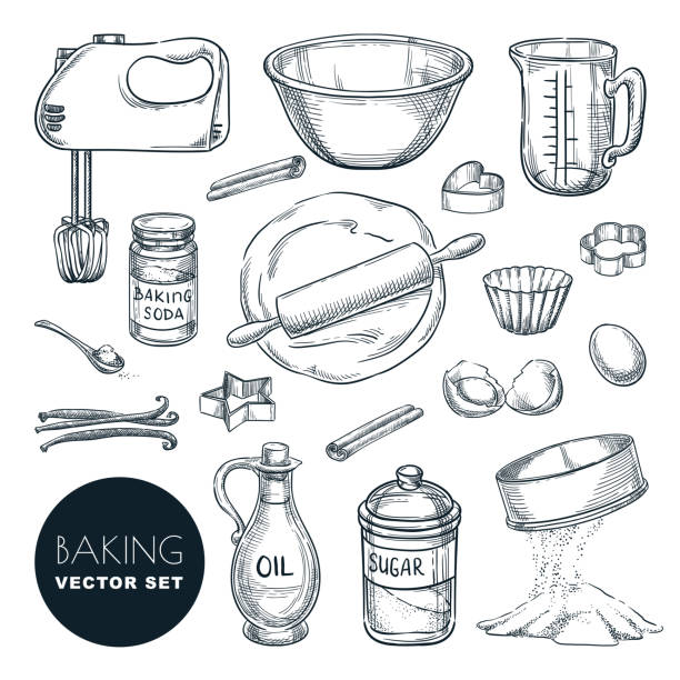 Baking ingredients and kitchen utensil icons. Vector flat cartoon illustration. Cooking and recipe design elements Baking ingredients and kitchen utensil icons. Vector hand drawn sketch illustration. Cooking and recipe design elements set, isolated on white background. measuring cup stock illustrations
