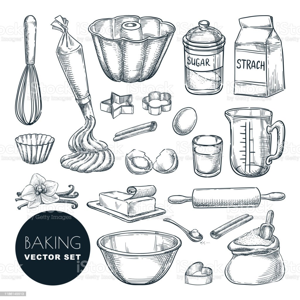 Baking ingredients and kitchen utensil icons. Vector flat cartoon illustration. Cooking and recipe design elements - Royalty-free Açúcar arte vetorial