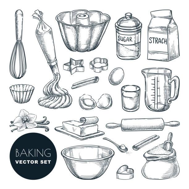 składniki do pieczenia i kuchenne przybory kuchenne ikony. wektor płaska ilustracja kreskówki. elementy projektu gotowania i receptury - ciasto stock illustrations