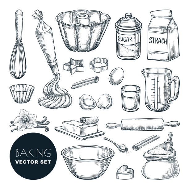 Baking ingredients and kitchen utensil icons. Vector flat cartoon illustration. Cooking and recipe design elements Baking tools and ingredients. Vector hand drawn sketch illustration. Cooking and recipe design elements set, isolated on white background. Kitchen utensils for pastry. cake drawings stock illustrations