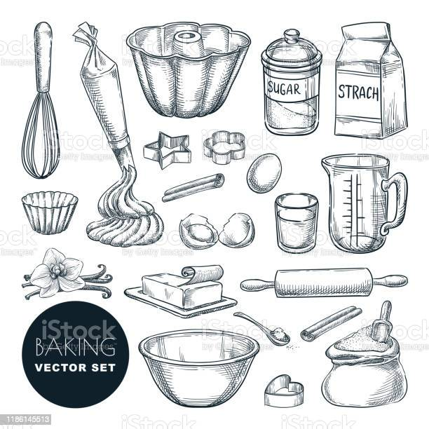 Baking Ingredients And Kitchen Utensil Icons Vector Flat Cartoon Illustration Cooking And Recipe Design Elements - Arte vetorial de stock e mais imagens de Açúcar