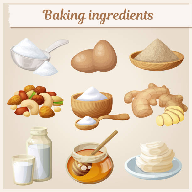 Baking ingredients cartoon vector icons set. Collection of cooking illustrations eggs, nuts, yeast, sugar, milk, powder, honey, Baking ingredients cartoon vector icons set. Collection of cooking illustrations eggs, nuts, yeast, sugar, milk, powder, honey, yeast stock illustrations