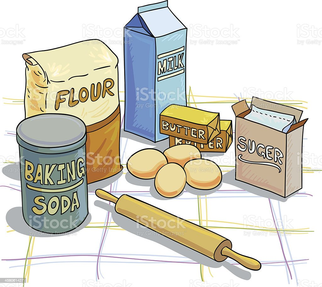Baking ingredients illustration vector art illustration
