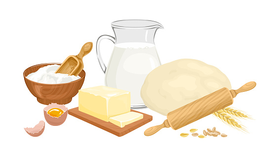 Baking ingredients set. Fresh dough, flour in bowl, jug with milk, butter, egg, rolling pin and ears of wheat isolated on a white background. Vector food illustration in cartoon flat style.