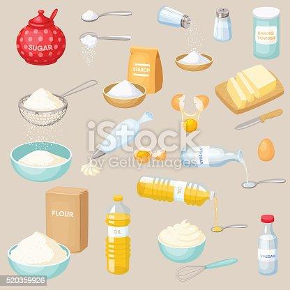 Baking ingredients set: sugar, salt, flour, starch, oil, butter, baking soda, baking powder, vinegar, eggs, whipped cream. Baking and cooking ingredients vector illustration. Kitchen utensils. Food