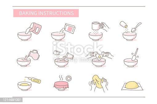 Instruction How to Prepare and Cook Dough for Bakery. Baking Ingredients and Food Preparation Symbols. Dough Flour Recipe. Flat Vector Illustration and Icons set.