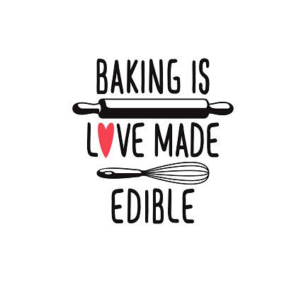 baking is love made edible fun cute baking quote printable vector design template