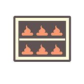 Bake bakery in electric convection oven vector icon. That dessert or sweet and machinery equipment in home kitchen, bakehouse, factory or industrial plant to preparing and cooking food by dry heat.