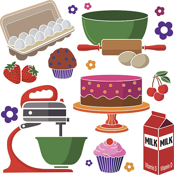 baking muffins and cakes vector art illustration