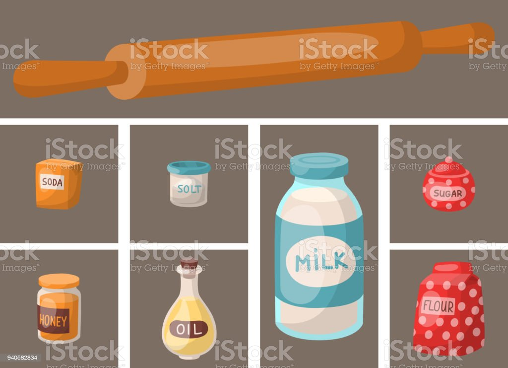 Baking pastry prepare cooking ingredients kitchen cards utensils homemade food preparation baker vector illustration vector art illustration