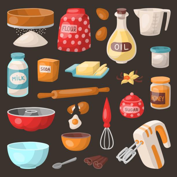 backen kuchen zubereiten zutaten küche kochutensilien hausmannskost-vorbereitung-bäcker-vektor-illustration - mehl stock-grafiken, -clipart, -cartoons und -symbole