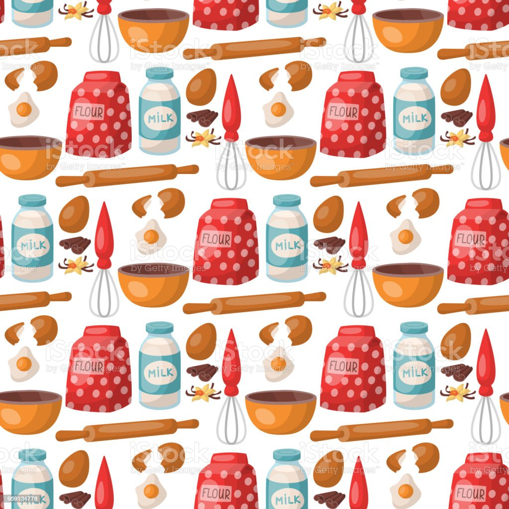 Baking pastry prepare cooking ingredients kitchen utensils homemade food preparation baker seamless pattern background vector illustration vector art illustration