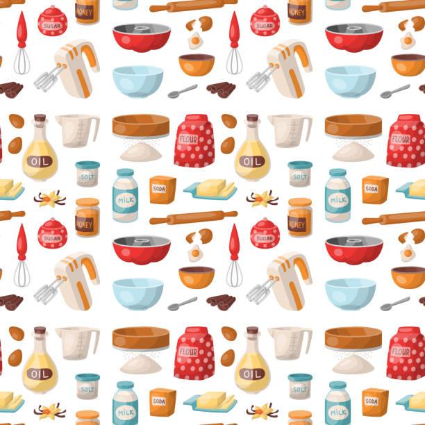 ilustrações, clipart, desenhos animados e ícones de panificação pastelaria preparar utensílios de cozinha de ingredientes cozinha comida caseira preparação padeiro sem costura padrão fundo vector ilustração - ingredientes