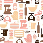 A seamless repeatable pattern of baking related icons. See below for an icon set of this file.