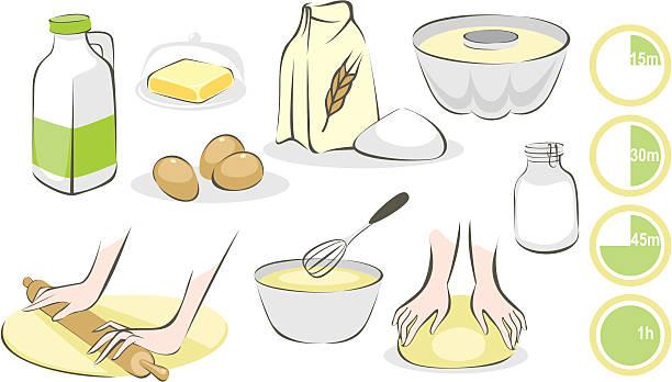 ilustrações de stock, clip art, desenhos animados e ícones de fazer doces conjunto - baking bread at home