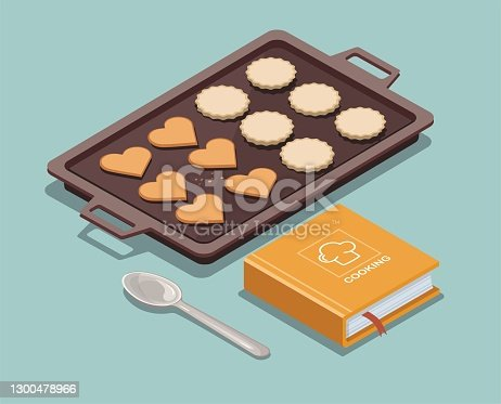 istock Baking sheet with cookies, recipe book and spoon 1300478966