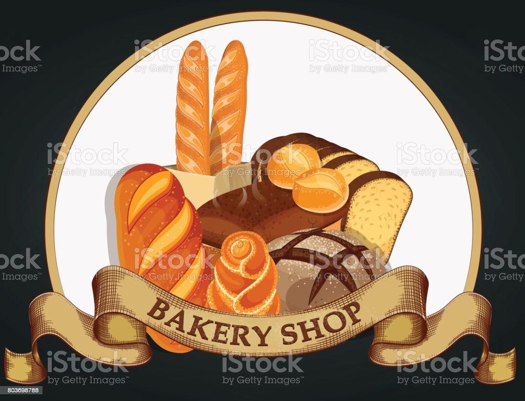 ショップのエンブレムを焼きますパン屋さんのパンのシンボルブランドラベル暗い背景にベーカリー エンブレム デザインベクトル図 店のベクターアート素材や画像を多数ご用意 Istock