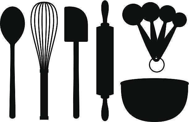 Baking Supplies Silhouettes A set of baking objects: Wooden spoon, whisk, spatula, rolling pin, measuring spoons and a mixing bowl. Isolated black silhouettes, can be placed onto any colored background. rolling pin stock illustrations