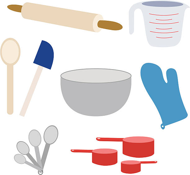 Baking Supplies Everything you need for baking! measuring cup stock illustrations