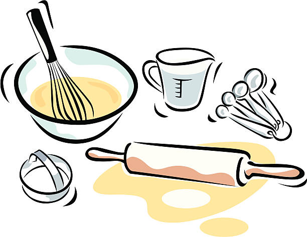 baking supplies - mixing bowl stock illustrations, clip art, cartoons, & icons
