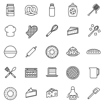 Baking Thin Line Icon Set