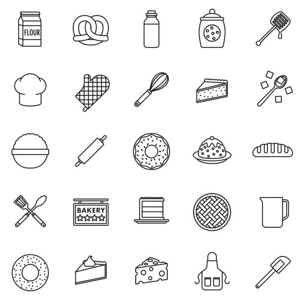Baking Thin Line Icon Set A set of 25 thin line icons in a contemporary style. The vector EPS file is built in the CMYK color space for optimal printing. cooking clipart stock illustrations