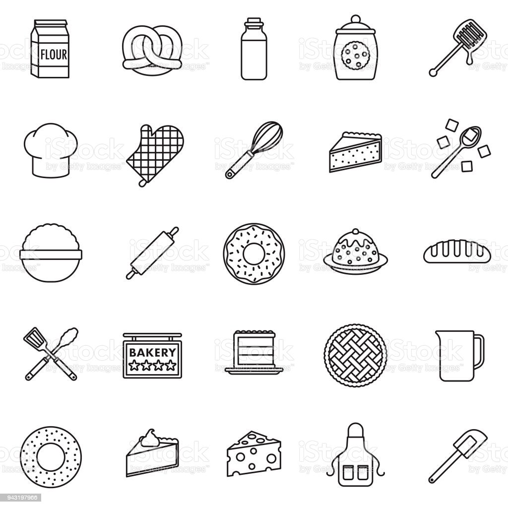 Baking Thin Line Icon Set vector art illustration