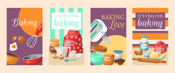 ilustrações de stock, clip art, desenhos animados e ícones de baking time, love set of banners. kitchen utensils. baking ingredients set sugar, vanilla, flour, oil, butter, baking soda, baking powder, honey, eggs. cooking vector illustration. - baking bread at home